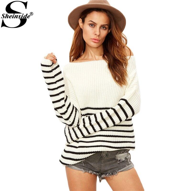 Sheinside Winter Pullover Women Sexy Fall Tops Designer Womens <font><b>Sweater</b></font> White <font><b>Striped</b></font> Boat Neck <font><b>Ribbed</b></font> <font><b>Sweater</b></font>