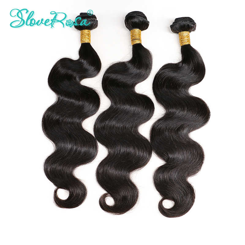 Slove Rosa Peruvian Body Wave Hair Extensions Full End Natural Color 100% Human Hair Bundles 3 Bundles Double Weft Remy Hair