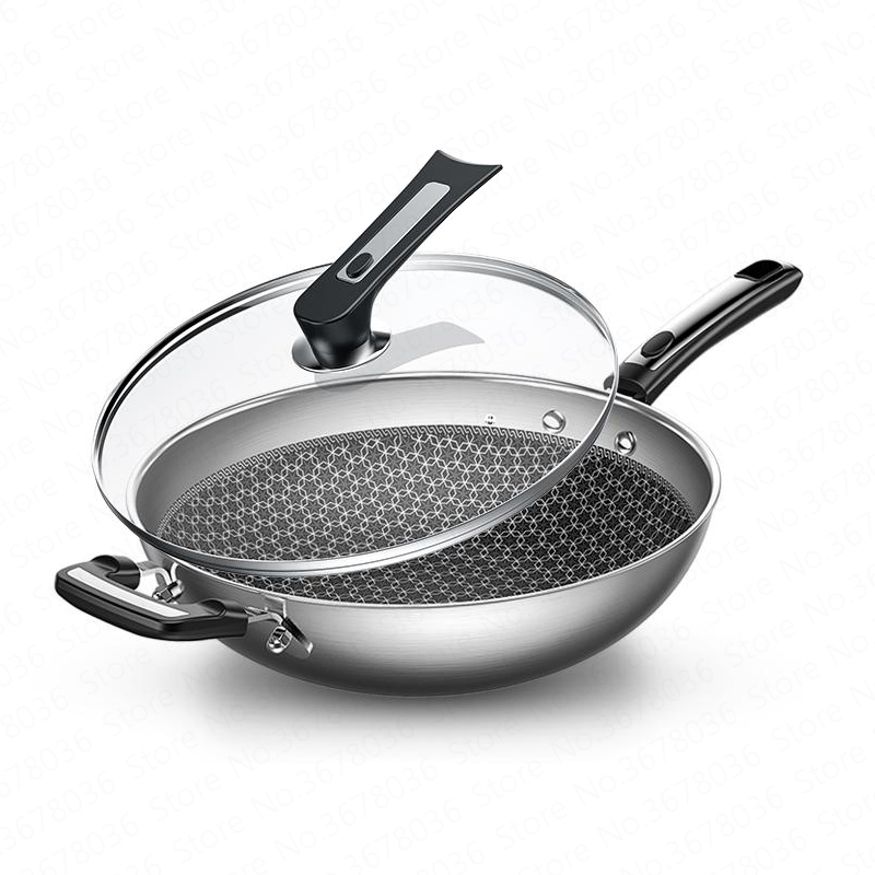 Wok Non-stick Pan 304 Stainless Steel Less Smoke Multi-function Household Cooking Pot Induction Cooker Gas for Wok Frying Pan