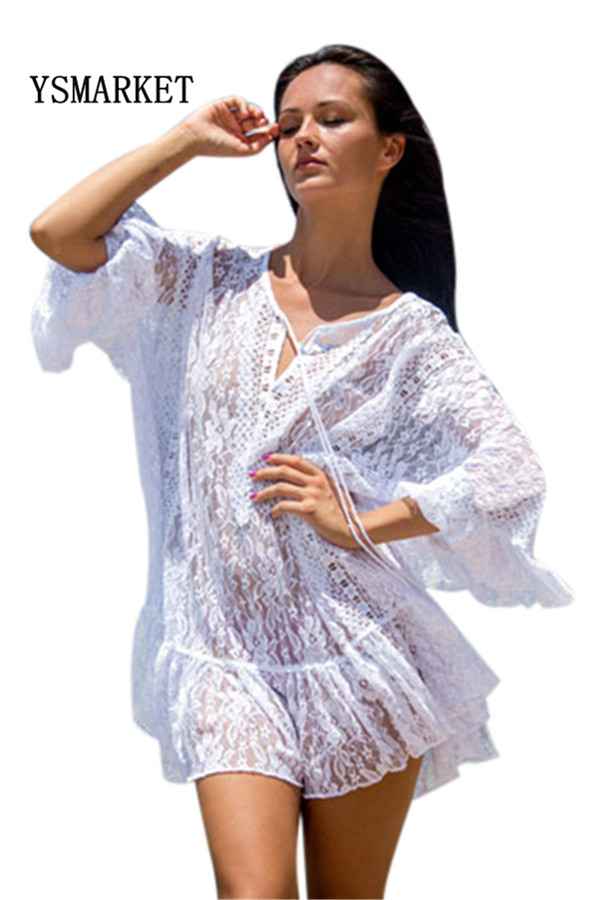 2018 Hot Summer Beach Wear Sexy Ruffles Lace Embroidery Loose Dress Women Butterfly Sleeve See Through V Neck CoverDress E42255