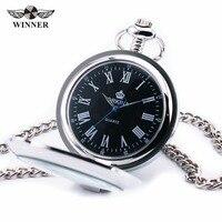 ORKINA Classic Vintage Stainless Steel Transparent Design Fashion Men S Pocket Watch Black Roman Dial JAPAN