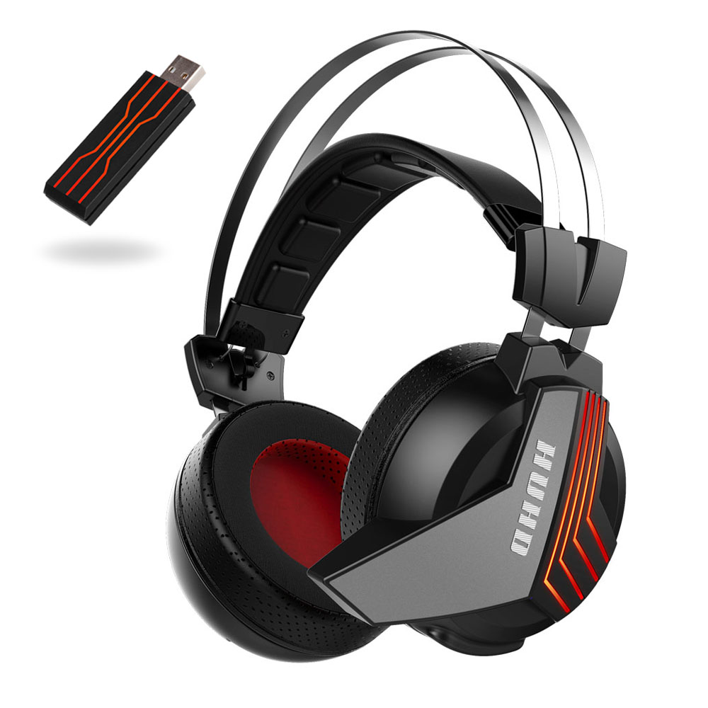 Wireless 7.1 Surround Sound USB Headset Deep Bass with Mic Stereo Gaming Headphones for Cell Phone New Laptop PC Spider LED