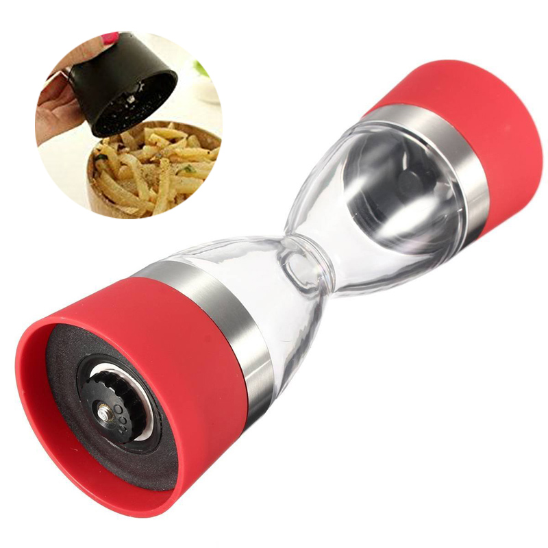 Kitchen 2 in 1 Salt Pepper Spice Grinder Acrylic Plastic Muller Mill Seasoning Grinding Tool