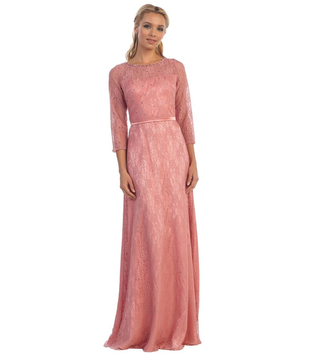2017 Rose Pink Long A line Lace Modest Bridesmaid Dresses with 3/4 ...