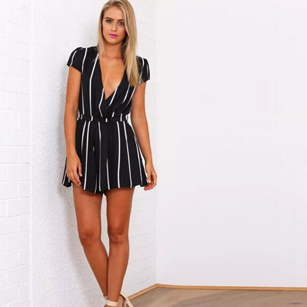 23c1fb5f4418 Summer Autumn deep V neck sexy women jumpsuit stripe print short sleeve  playsuit with belt fashion playsuit black and white -in Rompers from Women s  ...
