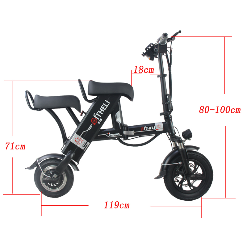 Sale folding electric bike parent-child electric bicycle 12inch 2 people Folding portable ebike lithium battery electric bicycle 12