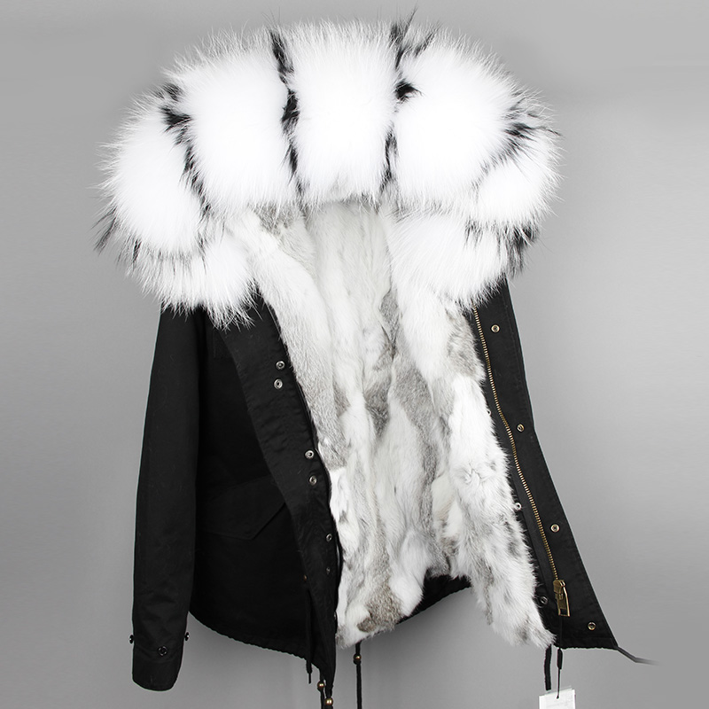 OFTBUY 2019   parka   winter jacket women   parka   real fur coat big natural raccoon fur collar hooded rabbit fur   parkas   warm thick