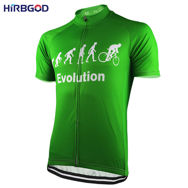 HIRBGOD Mens Green Evolution Cycling Jersey Short Sleeve Summer Road Sport Bike  Bicycle Shirts Clothing Maillot-NR177 9729335f0