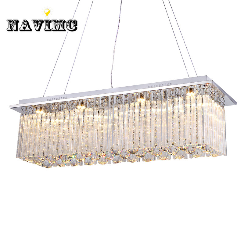 Modern European Rectangular k9 Crystal chandeliers living room dining room Bedroom Pendant Lamp led lights E14 led light lamp