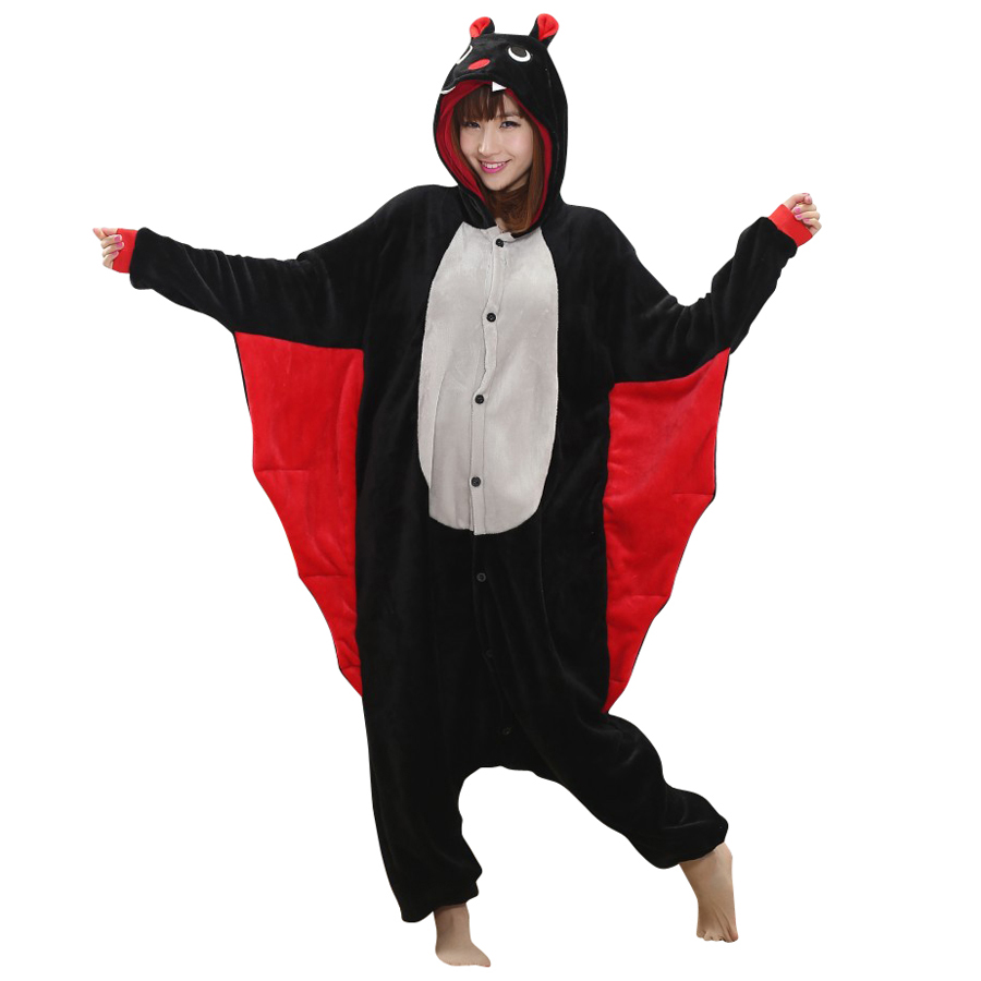 Unisex Adult Cosplay Animal Bat Costume Onesies Pajama For Halloween Carnival Masquerade Party