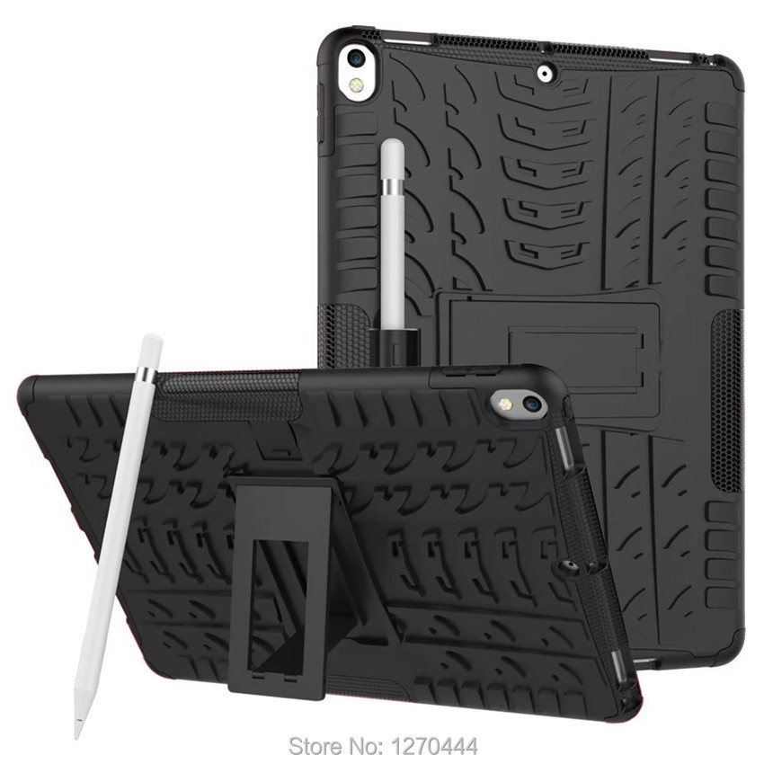 Case For new iPad Pro 10.5 2017 A1701 A1709 Cover Heavy Duty 2 in 1 Hybrid Rugged Durable Shockproof Rubber Funda Tablet Shell for ipad pro 10 5 a1701 a1709 kickstand case heavy duty shockproof rugged armor hard pc silicone full body protect cover foripad