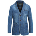 Men's Denim Casual Blazer Men Fashion Cotton Vintage Suit Jacket Male Blue Coat Denim Jacket Large Size Jeans Blazers 115