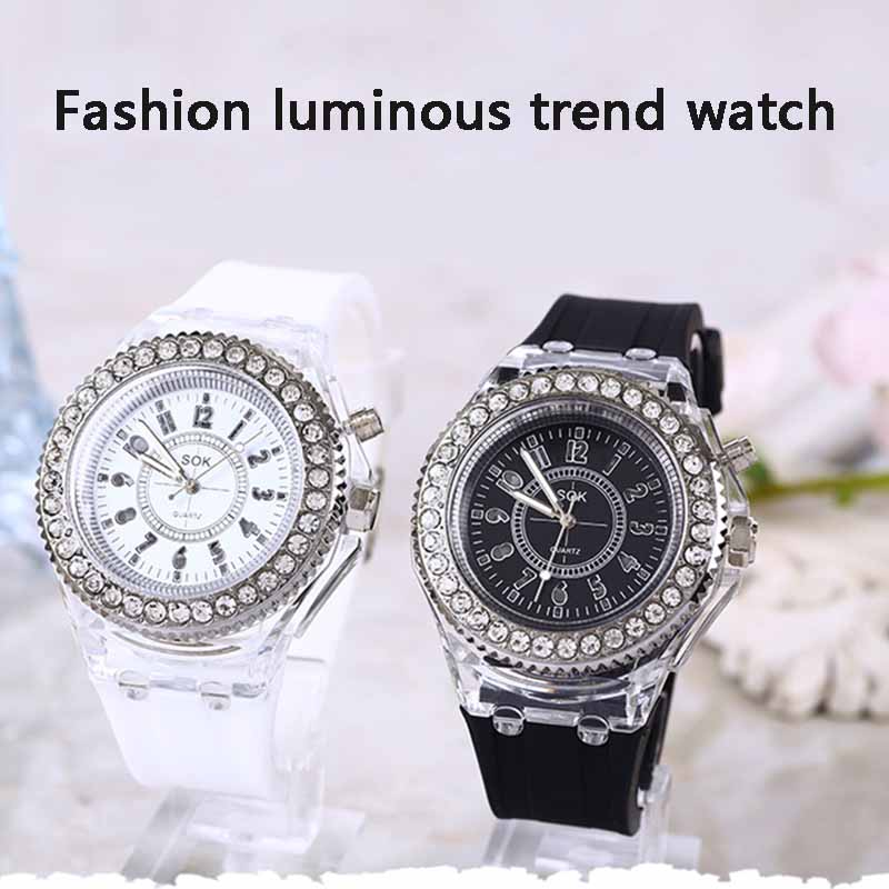 Quartz Wrist Watch LED Luminous Clear Rubber Case Silicone Band Casual Watches LL@17