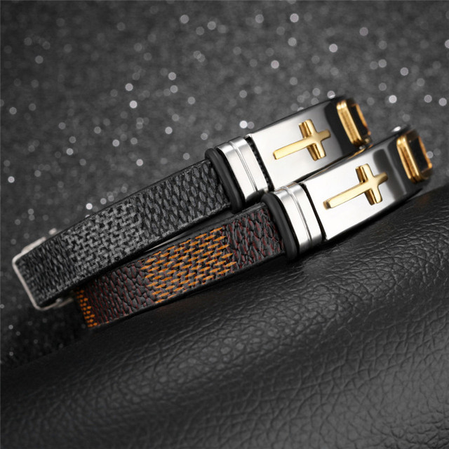 New Fashion Brown&Black Leather Bracelets Bangles for Men and Women Retro Cross Charm Bracelets