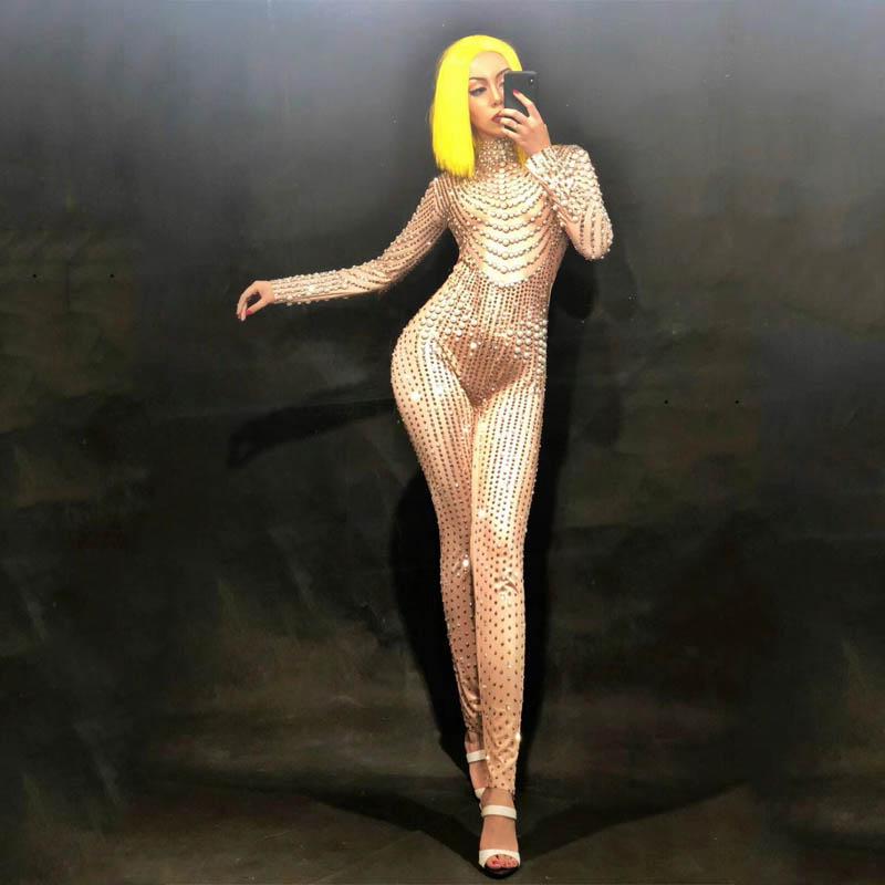 Sexy Sparkly body strip-tease danse combinaison perle une pièce Costume tenue scène porter des femmes célébrer la chanteuse femme DJ122