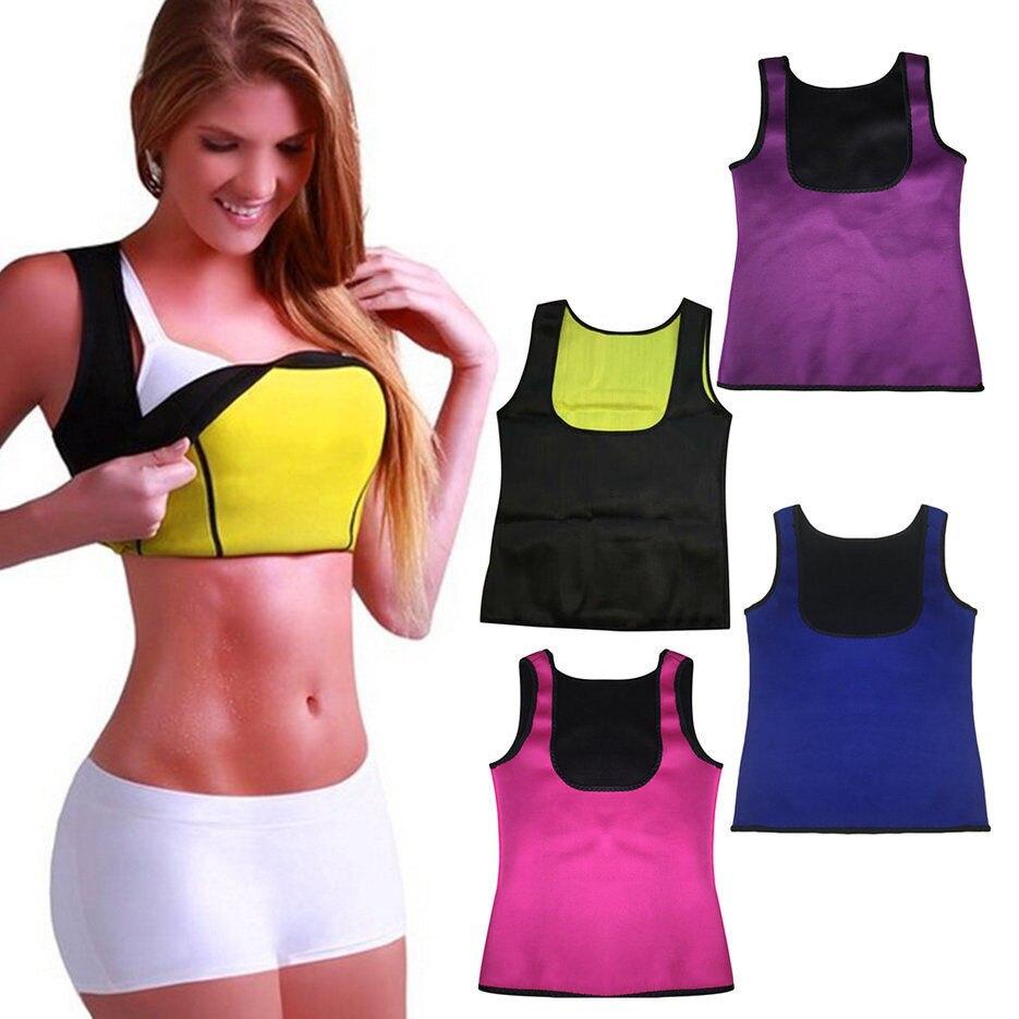 Cool Women Shaped Vest T-Shirts Solid color High Waist Neoprene Training Vest Corset Body Sleeveless T-Shirts 2018