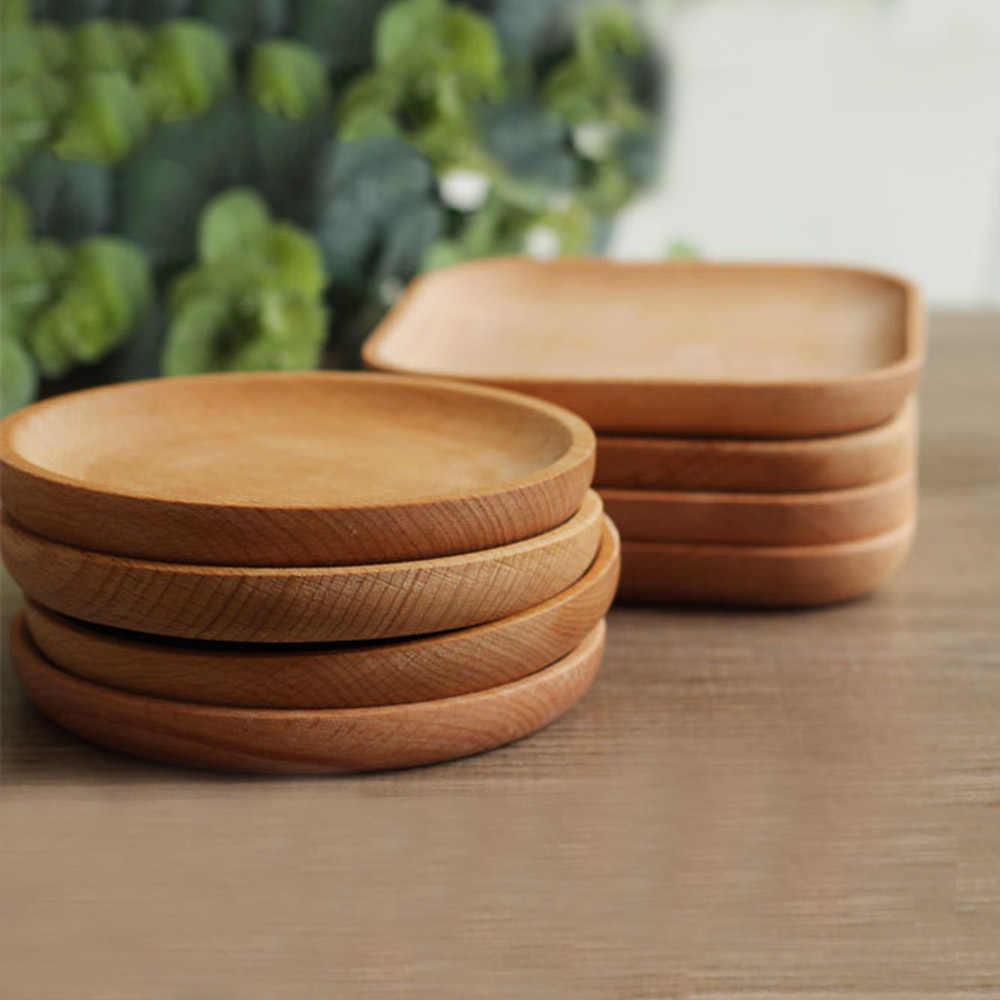 Kayu Piring Makanan Penutup Makanan Baking Tray Cangkir Pemegang Alat Makan Peralatan Makan Bulat Kayu Persegi Kue Hidangan Melayani Nampan Sushi Piring