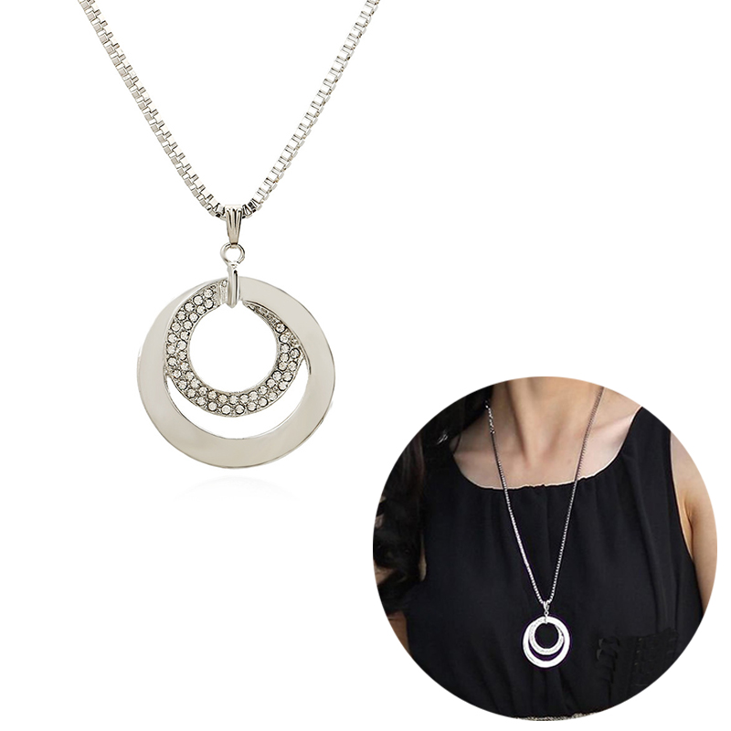 New Fashion OL Temperament Inlaid Round Double Circle Long Necklace Jewelry Drop CX41