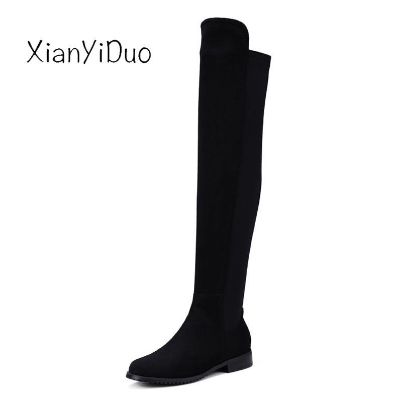 Xianyiduo Spr/Autumn Womens Shoes Over-the-Knee Thigh-high Boots Round Toe low Heels plus size34-43 Micro stretch shaft/381-2