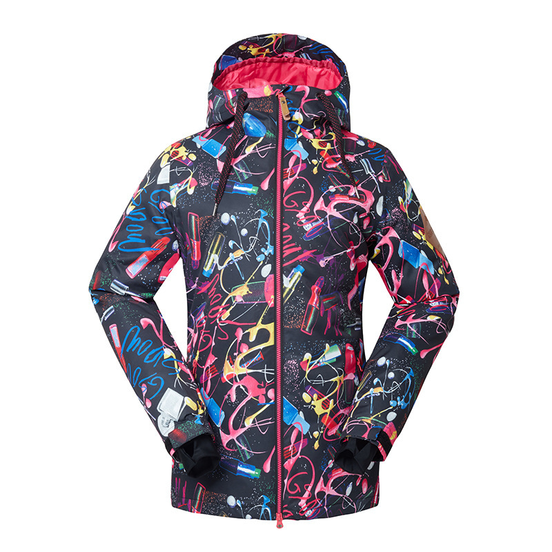 все цены на GSOU SNOW New Lady Ski Suit Single Double Board Skiing Jacket Outdoor Warm Waterproof Windproof Breathable Ski Coat Size XS-L онлайн