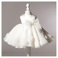 חמה למכירה לבנה שמלות טבילת הטבלה שמלת יום הולדת נסיכת שמלת תחרת 3D רוז תינוקת שמלת טוטו מסיבת יילוד