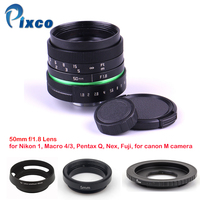 Pixco 50mm f/1.8 APS C Lens+Lens Hood+Macro Ring+16mm C Mount adapter for Nikon 1/M4/3 /For Pentax Q/ Nex / Fuji/ for eos|50mm f/1.8|aps-c lens|c mount -