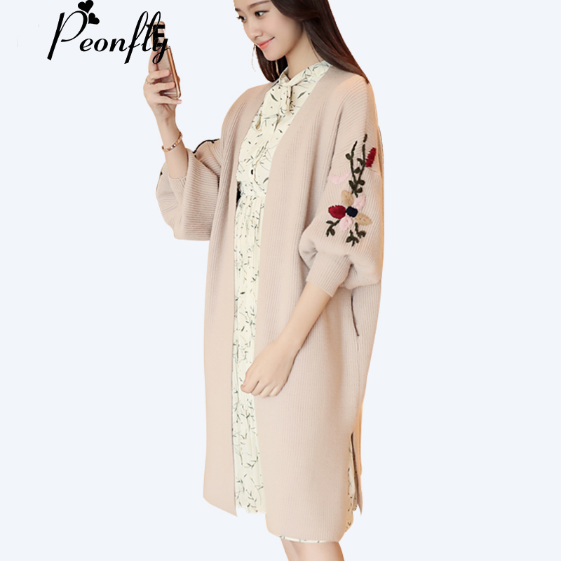PEONFLY 2018 Embroidery Long Cardigan Female Autumn Winter Loose Knitted Sweater Cardigans For Women Knitted Jacket