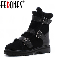 FEDONAS Top Quality Winter Ankle Boots Women Platform High Heels Genuine Leather Shoes Woman Warm Plush