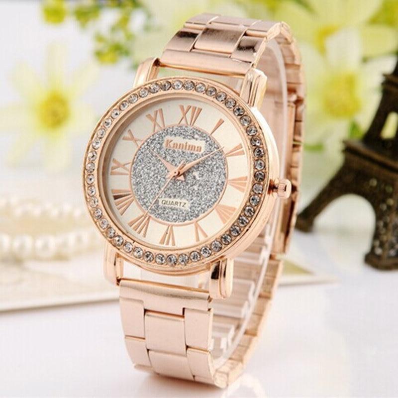 Dames luxe casual mode quartz horloge roestvrij staal horloges rose - Dameshorloges - Foto 2