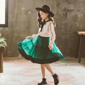 Image 4 - Princesa terciopelo gasa 2 uds conjunto de edad para niñas adolescentes de 4 14 años ropa de primavera Blusa de manga larga + falda conjuntos escolares para Niñas Grandes