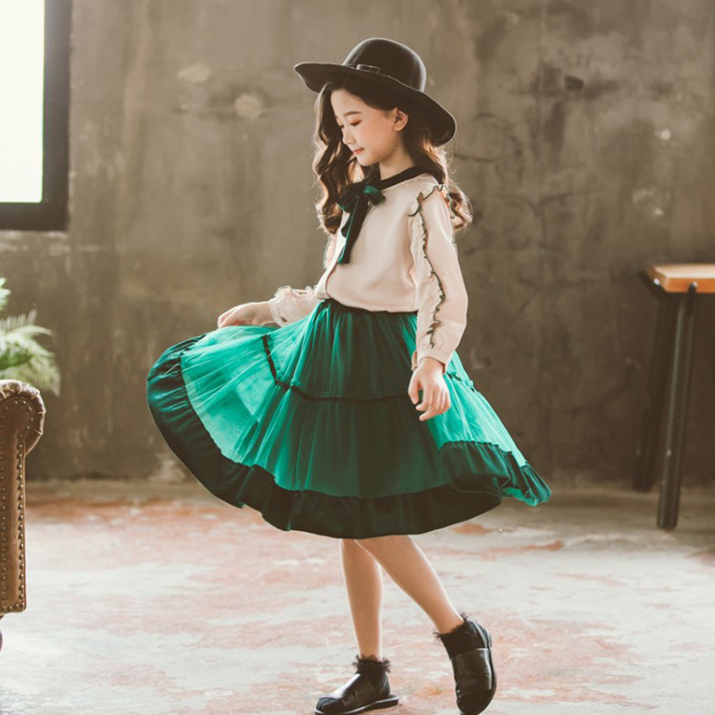 Image 4 - princess velvet chiffon 2 pcs set age for 4 14 yrs teenage girls spring clothes long sleeve blouse+skirt big girl school outfits-in Clothing Sets from Mother & Kids