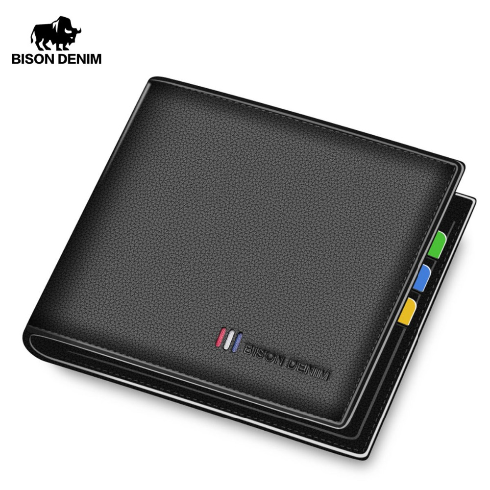 BISON DENIM New Cow Leather Wallet Men Fashion Bifold Male Short Card Wallet Genuine Leather Coin