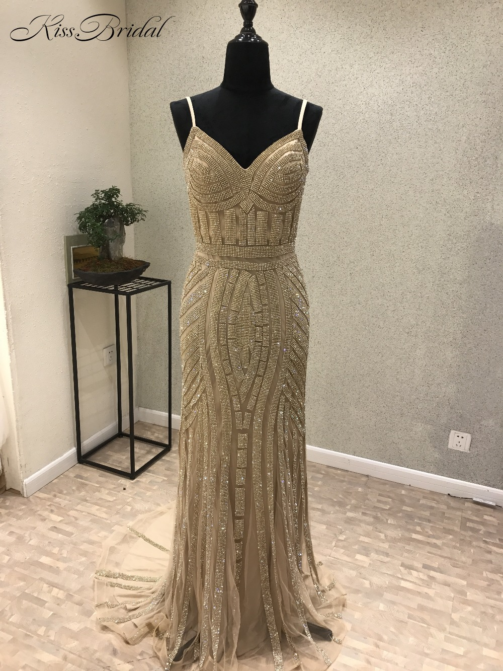 Sexy   Prom     Dress   Long 2018 Sequin Beading Evening Party Gowns Mermaid Style Spaghetti Straps V Neck