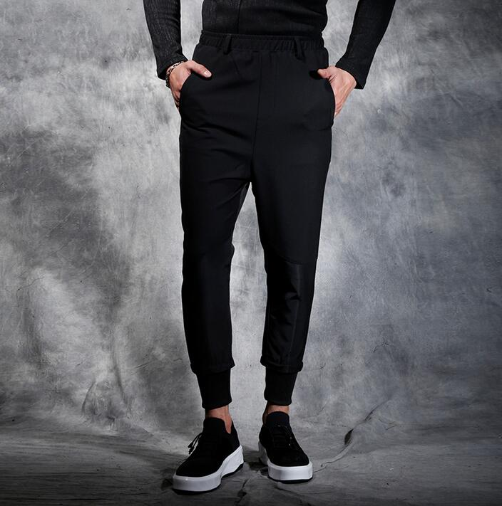 Spring and summer men casual pants slim skinny pants male black ankle length trousers patchwork small harem pants mens novelty grey 2015 spring male personality splice skinny pants the trend straight trousers slim long trousers thin men skinny jeans
