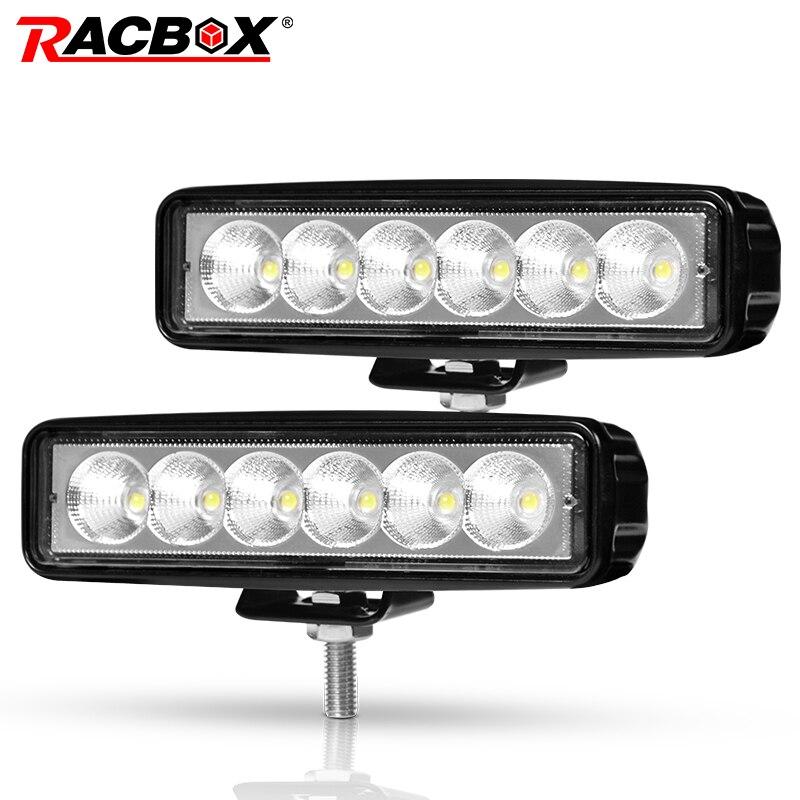 1/2 piezas 6 pulgadas 18 W LED luz de trabajo de haz de inundación proyector Luz de camión para motocicletas Offroad Jeep 4x4 ATV 4WD SUV UAZ Luz de niebla del coche