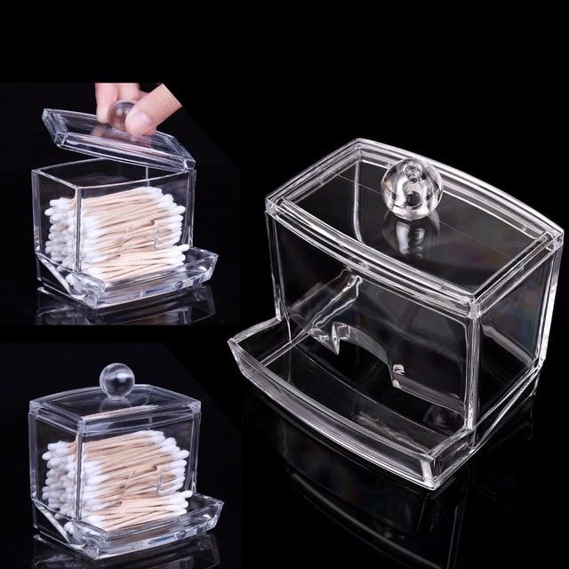 Elegant ABEDOE Fashion Clear Acrylic Cotton Swabs Organizer Box Q Tip Storage  Holder Makeup Storage Box