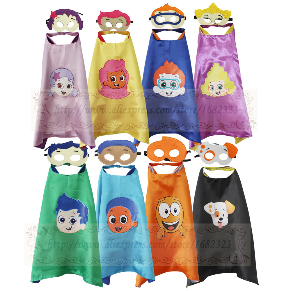 Bubble Guppies Child's Birthday Favor - Bubble Guppies Inspired Costume Capes With Masks - Dress-Up Halloween Pretend Play