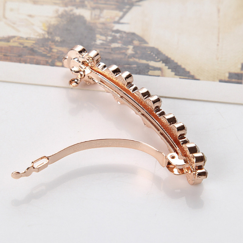 Купить с кэшбэком Hot Sale Fashion Korean Crystal Pearl Elegant Women Barrettes Hair Clip Hair Accessories 5 Colors