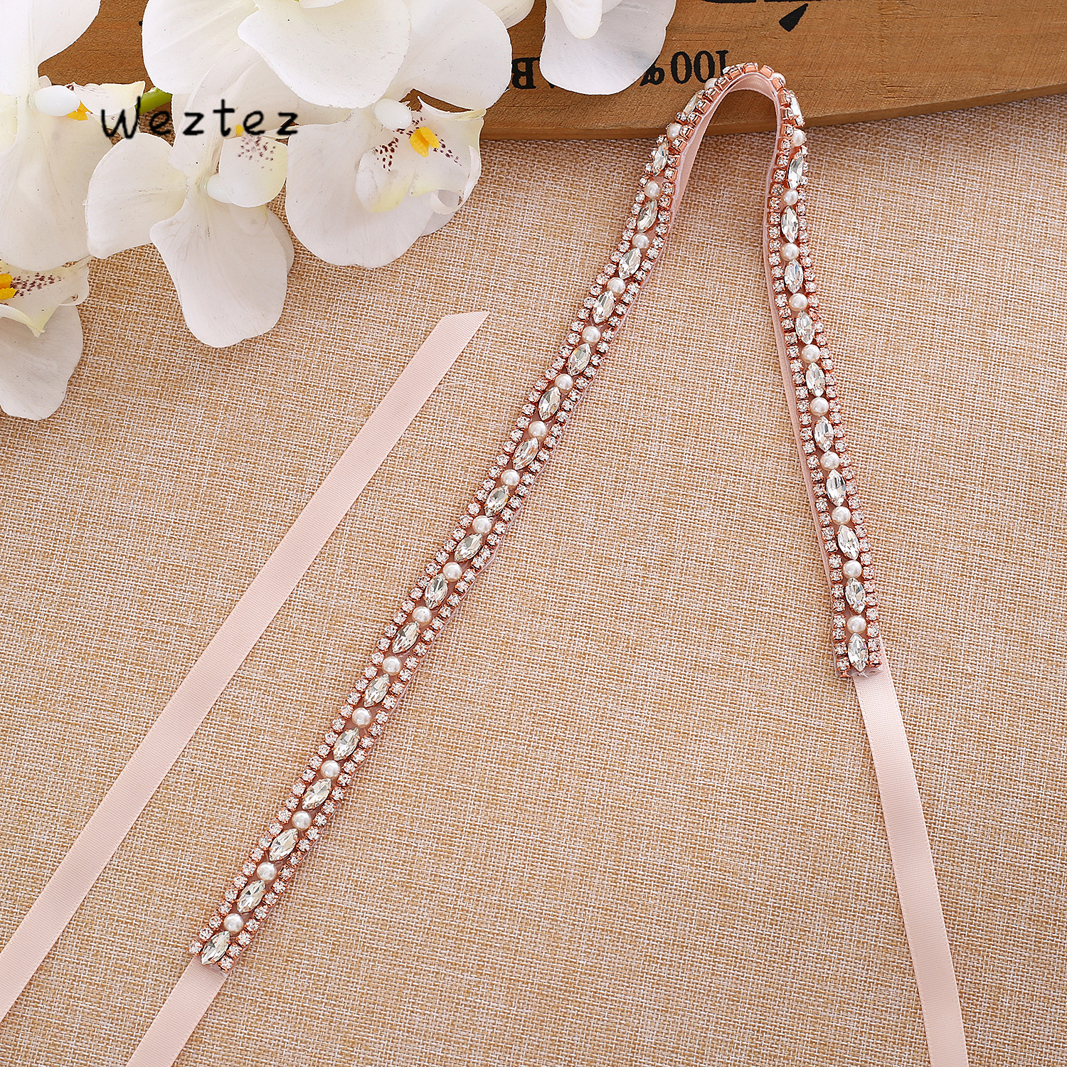 Wedding Belt Crystal Thin belt Bridal Belt Rhinestone Belt Satin Ribbon Rose gold For Wedding Accessories Elegant L170RG