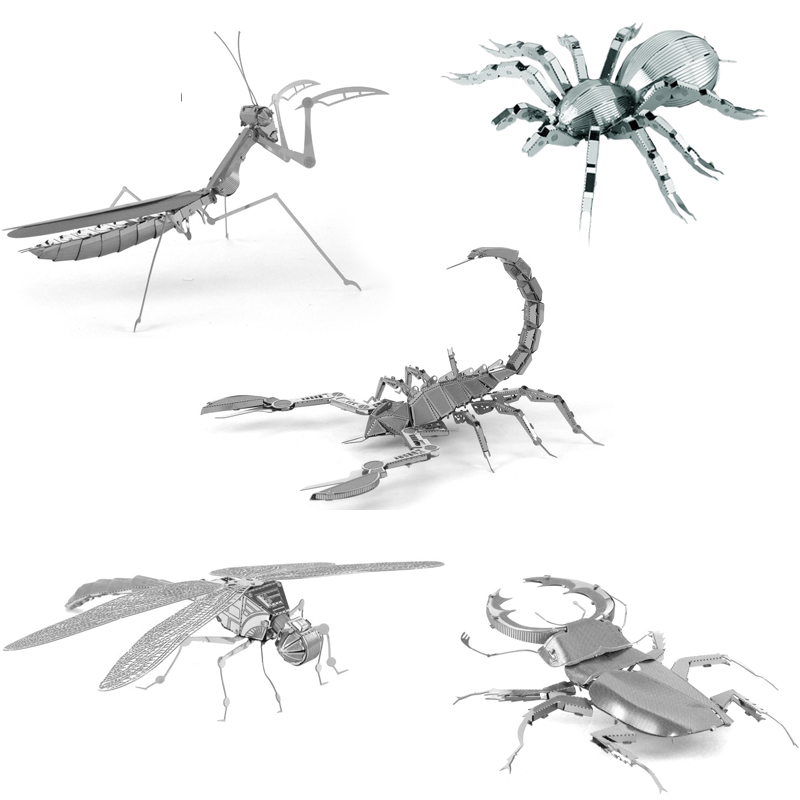 New DIY Stainless Steel 3D Metal Puzzle Animal Model Jigsaw Toys Insects Dragonfly Spider Scorpion Assemble Model Puzzle Toys