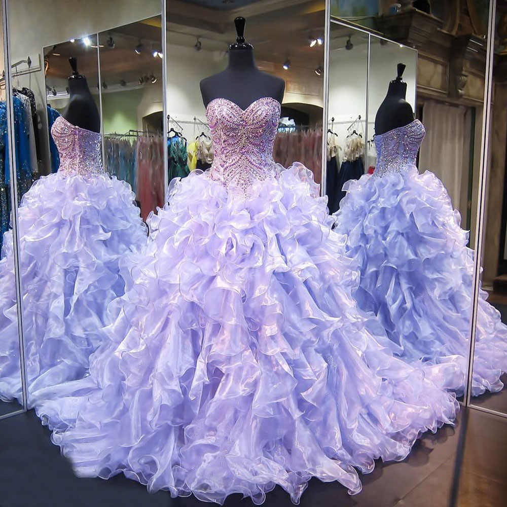 a737f380436 ... Sparkling Light Purple Quinceanera Dresses Sweetheart Lace Up Ball Gown  Sweet 16 Dress Beaded Crystal vestidos ...