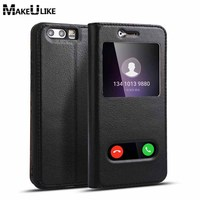 Window View Genuine Leather Case For Huawei Honor 9 Magnetic Protective Cover Coques For Huawei Honor