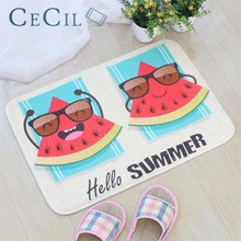 Cecil Cute Hello Summer Painted Floor Mats Elephant Owl Cartoon Flannel Soft Child Entrance Doormats For Carpets Living Room Rug