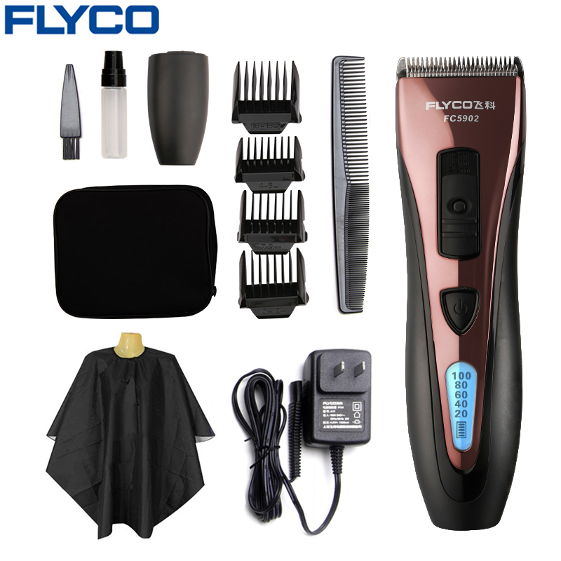 Flyco Red Hair Trimmers Professional Rechargeable Hair Clipper Haircut Beard Razor for Men LED Display Maquina De Cortar Cabelo stainless steel blade electric rechargeable hair carving trimmers lettering clipper haircut machine set 4 limit combs for men