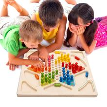 Children Wooden Chess Checkers Sets + Game Flight Chess 2 in 1 Multifunction Chess стоимость