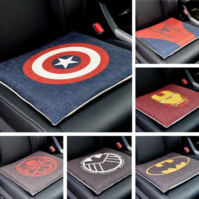 Marvel Cartoon Super Hero Car Seat Covers Support Four Seasons Auto Cushion Pad Flax Fabric Memory