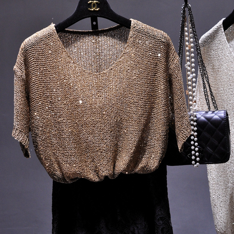 Women Sequined knit shirts Short Sleeve Tees Tops O-neck gold Lurex See-through Shirt Loose Casual Girls Top Knit Shirt Рубашка