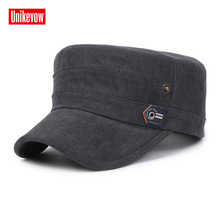 UNIKEVOW Solid military cap Botton washed Flat top Hat for men and women Outdoor high quality sport breathable hat