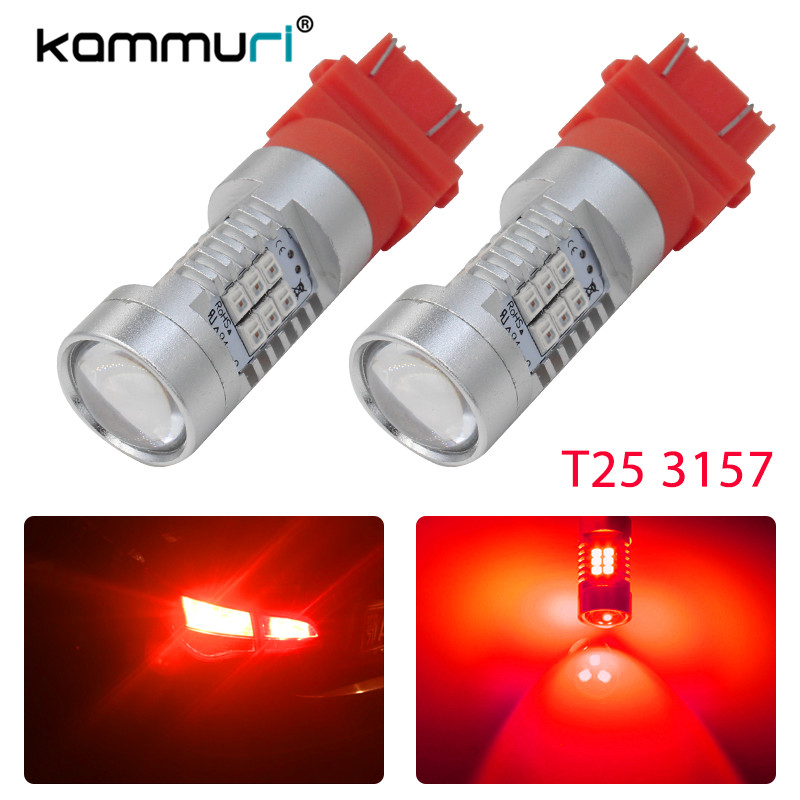 KAMMURI Brilliant Red High Power 3156 3157 T25 LED Bulbs For Turn Signal Lights, Tail Lights, Brake Lights DRL Lights