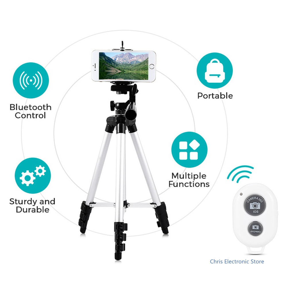 Mesuvida Professional Aluminum Tripod Bluetooth Flexible Mini Tripod Stand +Phone Holder Camera Tripod For Smartphone Iphone new sys700 aluminum professional tripod